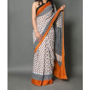 KC110306 - Designer Cotton Sarees with Blouse