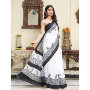 KC110483 - Beautiful Mulmul Cotton Saree with Blouse