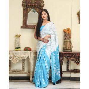 KC110490 - Beautiful Mulmul Cotton Saree with Blouse