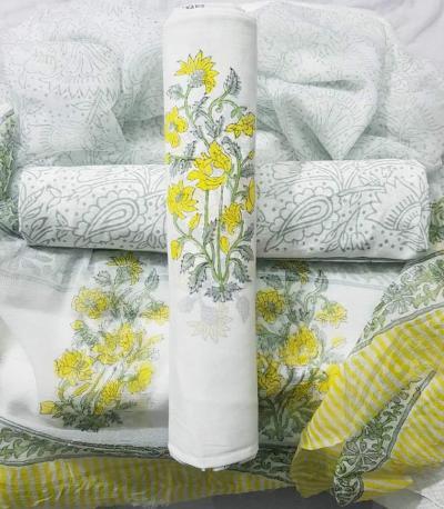 Cotton Dress Materials with Chiffon Dupatta